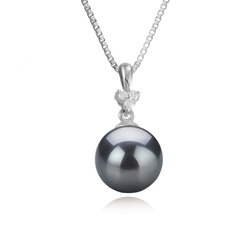 8-9mm AA Quality Japanese Akoya Cultured Pearl Pendant in Ellice Black