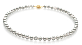 7-7.5mm Hanadama - AAAA Quality Japanese Akoya Cultured Pearl Necklace in Hanadama 16-inch White