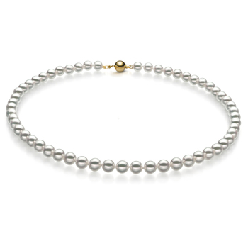6.5-7mm Hanadama - AAAA Quality Japanese Akoya Cultured Pearl Necklace in Hanadama 16-inch White