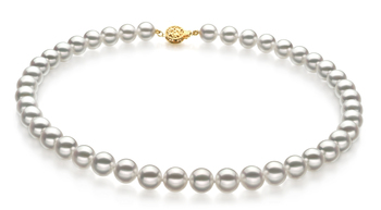9-9.5mm Hanadama - AAAA Quality Japanese Akoya Cultured Pearl Necklace in Hanadama 18-inch White