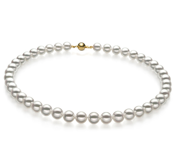 9-9.5mm Hanadama - AAAA Quality Japanese Akoya Cultured Pearl Necklace in Hanadama 23-inch White