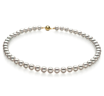 7-7.5mm Hanadama - AAAA Quality Japanese Akoya Cultured Pearl Necklace in Hanadama 23-inch White
