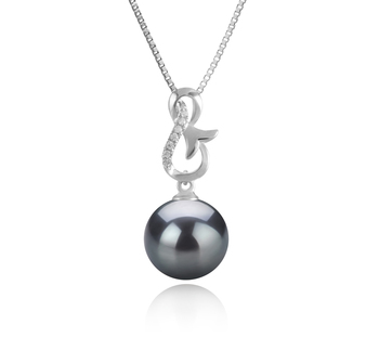 9-10mm AAA Quality Tahitian Cultured Pearl Pendant in Hazel Black