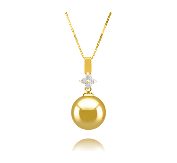 10-11mm AAA Quality South Sea Cultured Pearl Pendant in Hilda Gold