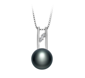 9-10mm AA Quality Freshwater Cultured Pearl Pendant in Hiriko Black