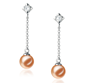 6-7mm AAAA Quality Freshwater Cultured Pearl Earring Pair in Ingrid Pink