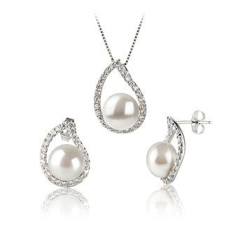 PearlsOnly - Isabella White 9-10mm AA Quality Freshwater 925 Sterling Silver Cultured Pearl Set