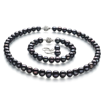 8-9mm A Quality Freshwater Cultured Pearl Set in Kaitlyn Black
