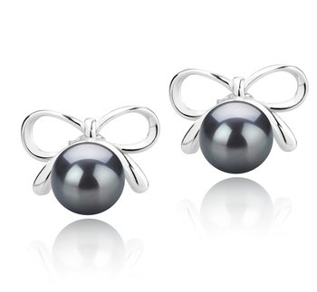 8-9mm AAA Quality Tahitian Cultured Pearl Earring Pair in Kayla Black