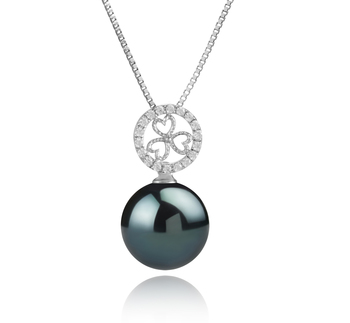 12-13mm AA Quality Tahitian Cultured Pearl Pendant in Klara Black