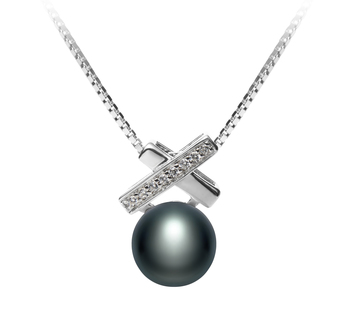 7-8mm AAA Quality Freshwater Cultured Pearl Pendant in Klarita Black