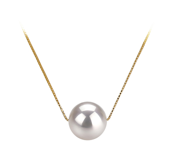 PearlsOnly - Kristine White 8-9mm AAA Quality Japanese Akoya 14K Yellow Gold Cultured Pearl Pendant