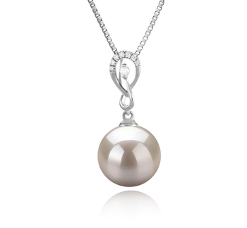 10-11mm AAAA Quality Freshwater Cultured Pearl Pendant in Lena White