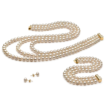b1fafeb21b3d9 6-7mm AA Quality Freshwater Cultured Pearl Set in Lucille White