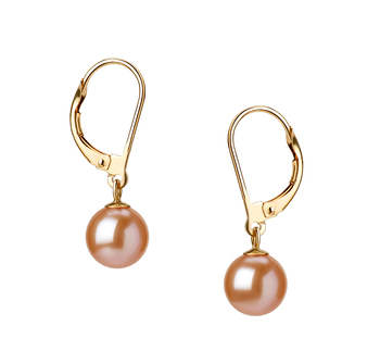 PearlsOnly - Marcella Pink 7-8mm AAAA Quality Freshwater Cultured Pearl Earring Pair Pearl Earring Set