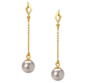 6-7mm AA Quality Japanese Akoya Cultured Pearl Earring Pair in Misha White