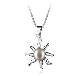 7-8mm AA Quality Freshwater Cultured Pearl Pendant in Nina White