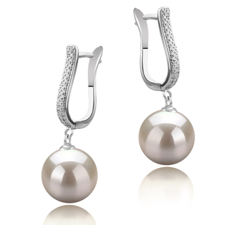 10-11mm AAAA Quality Freshwater Cultured Pearl Earring Pair in Ophelia White
