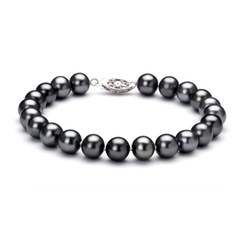7.5-8.5mm AA Quality Freshwater Cultured Pearl Bracelet in Black