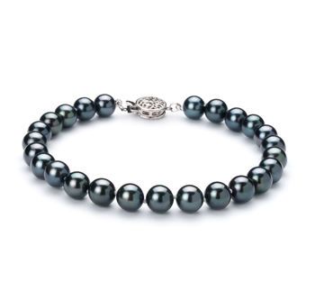 6.5-7mm AA Quality Japanese Akoya Cultured Pearl Bracelet in Black