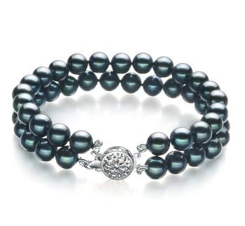 6-7mm AA Quality Japanese Akoya Cultured Pearl Bracelet in Black