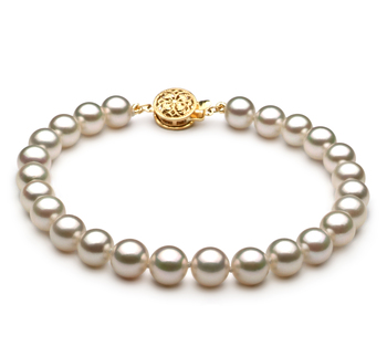 6.5-7mm AAA Quality Japanese Akoya Cultured Pearl Bracelet in White