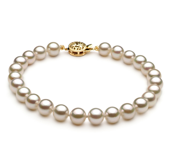 White 6-7mm AA Quality Japanese Akoya 14K Yellow Gold Cultured Pearl Bracelet