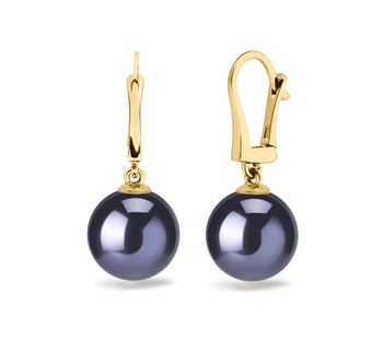 8.5-9mm AAAA Quality Freshwater Cultured Pearl Earring Pair in Black