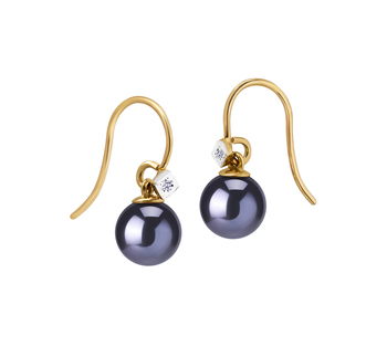 8-8.5mm AAAA Quality Freshwater Cultured Pearl Earring Pair in Artsy Black
