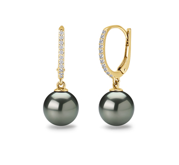 10-11mm AAA Quality Tahitian Cultured Pearl Earring Pair in Black