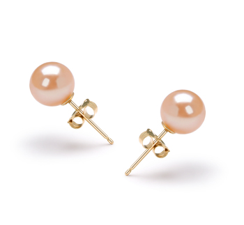 6-7mm AAAA Quality Freshwater Cultured Pearl Earring Pair in Pink