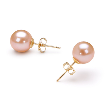 Pink 7-8mm AAAA Quality Freshwater Cultured Pearl Earring Pair Pearl Earring Set