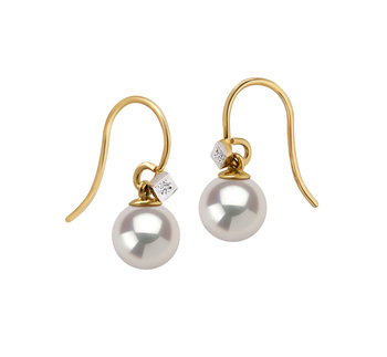 7-8mm AAAA Quality Freshwater Cultured Pearl Earring Pair in Artsy White