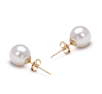 White 7.5-8mm AAA Quality Japanese Akoya Cultured Pearl Earring Pair