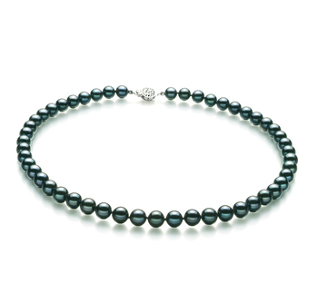 PearlsOnly - Black 7.5-8mm AA Quality Japanese Akoya 925 Sterling Silver Cultured Pearl Necklace