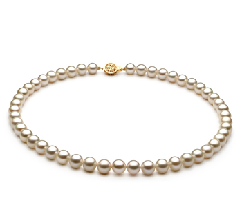 PearlsOnly - White 7-8mm AAAA Quality Freshwater 14K Yellow Gold Cultured Pearl Necklace