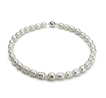 PearlsOnly - White 9-12mm Baroque Quality South Sea 18K White Gold Cultured Pearl Necklace