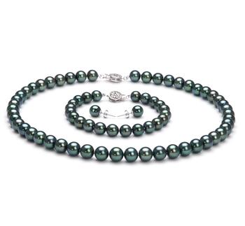 7-7.5mm AAA Quality Japanese Akoya Cultured Pearl Set in Black
