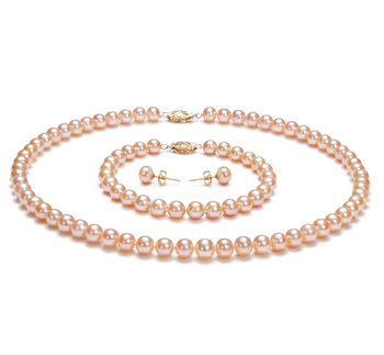 PearlsOnly - Pink 6-7mm AA Quality Freshwater Cultured Pearl Set