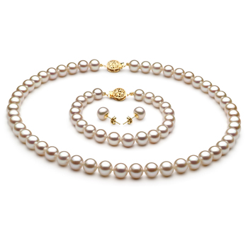 PearlsOnly - White 7-8mm AAA Quality Freshwater Cultured Pearl Set