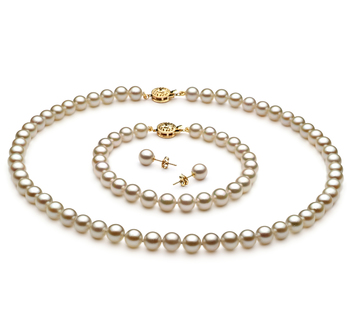 PearlsOnly - White 6.5-7mm AA Quality Japanese Akoya Cultured Pearl Set