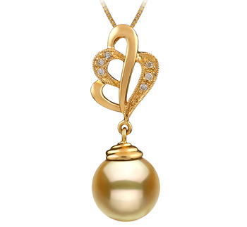 10-11mm AAA Quality South Sea Cultured Pearl Pendant in Prudence Gold