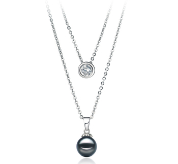 PearlsOnly - Ramona Black 7-8mm AA Quality Japanese Akoya 925 Sterling Silver Cultured Pearl Necklace