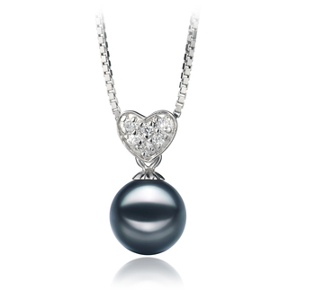 7-8mm AA Quality Japanese Akoya Cultured Pearl Pendant in Randy Black