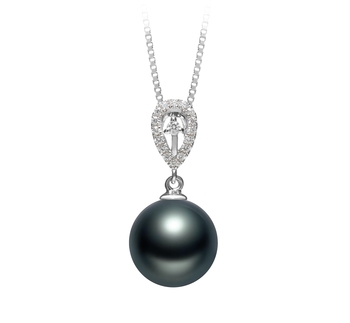 10-11mm AAA Quality Tahitian Cultured Pearl Pendant in Regina Black