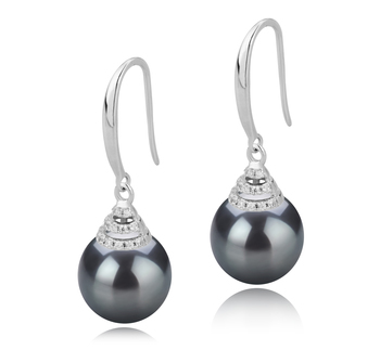 10-11mm AAA Quality Tahitian Cultured Pearl Earring Pair in Roxanne Black