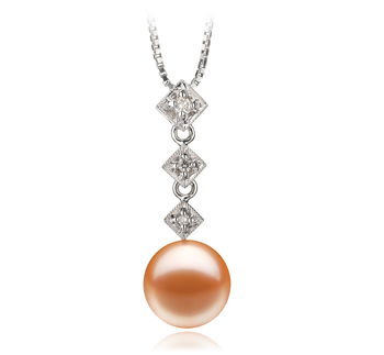Rozene Pink 9-10mm AAAA Quality Freshwater 14K White Gold Cultured Pearl Pendant