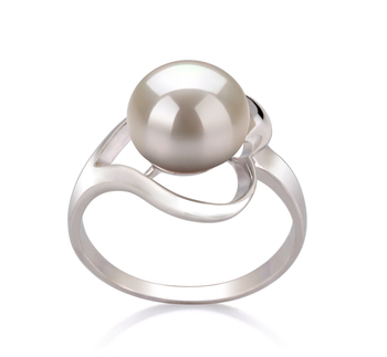 PearlsOnly - Sadie White 9-10mm AA Quality Freshwater 925 Sterling Silver Cultured Pearl Ring