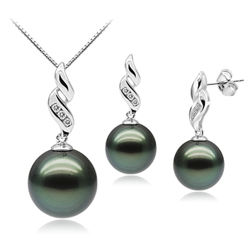 9-11mm AAA Quality Tahitian Cultured Pearl Set in Seductive Black