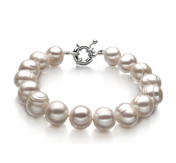 10-11mm A Quality Freshwater Cultured Pearl Bracelet in Single White